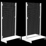 White grid wire mesh retail shelving